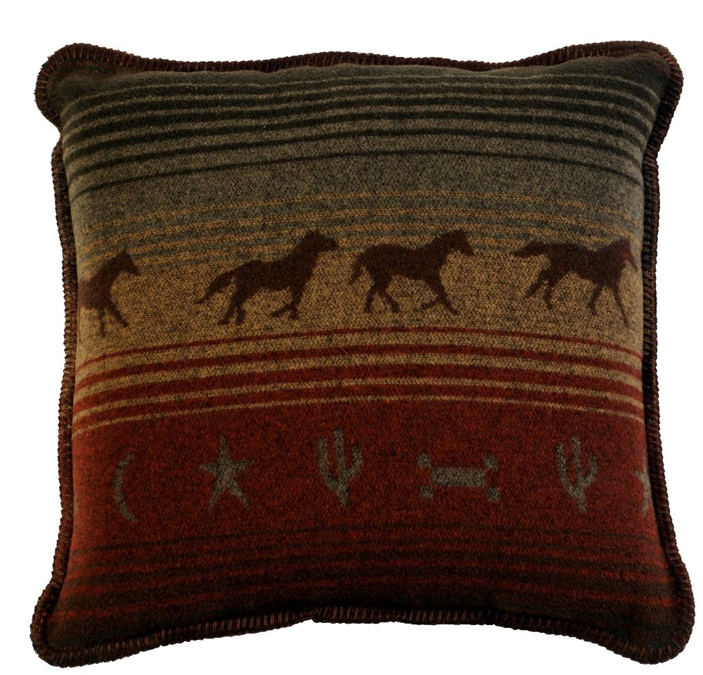 Decorative Western Throw Pillows : Mustang Canyon Western Horses Throw Pillow 20 x 20