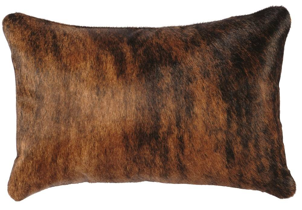 Western Throw Pillows Leather : Western Brindle Cowhide Leather Throw Pillow 12 x 18