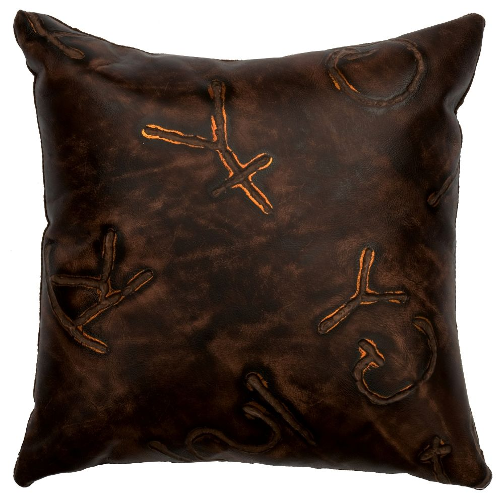 How To Make A Leather Throw Pillow : Brands Embossed Leather Throw Pillow 16 x 16