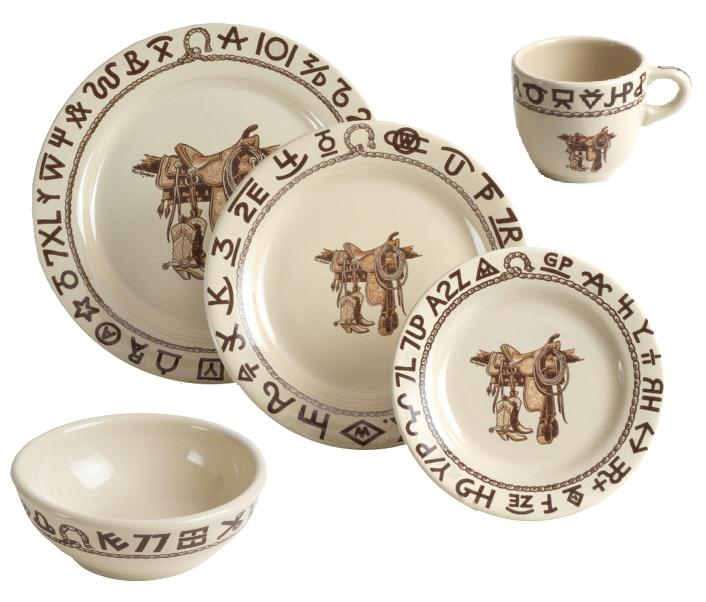 Boots & Saddle Western Dinnerware 20Pc Set No Saucers