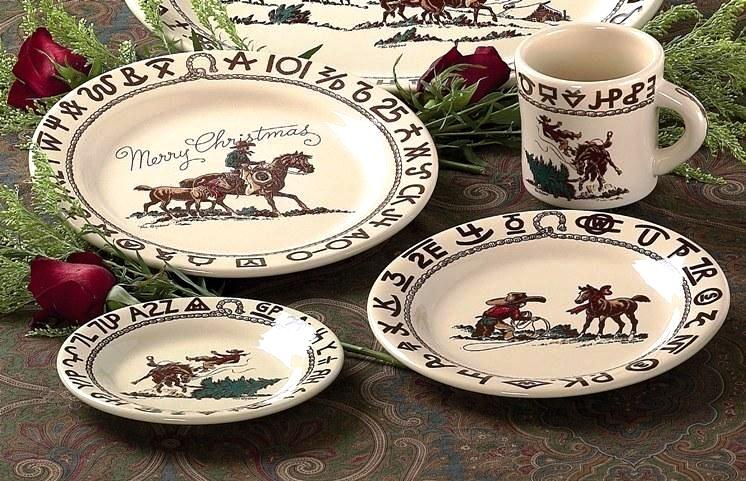Cowboy Christmas Western Dinnerware 16-Pc Set & Cowboy Christmas Western Dinnerware 16Pc Set