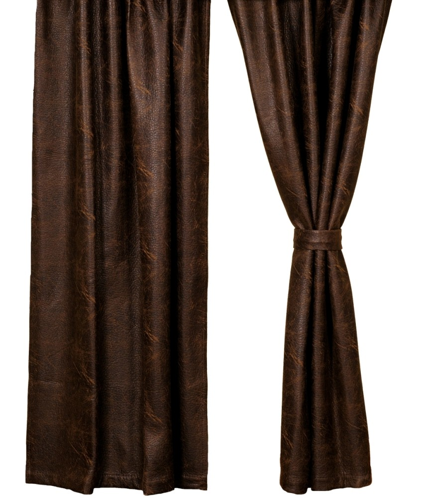 Colt Coffee Brown Faux Leather Drapery Panel 52 X 84