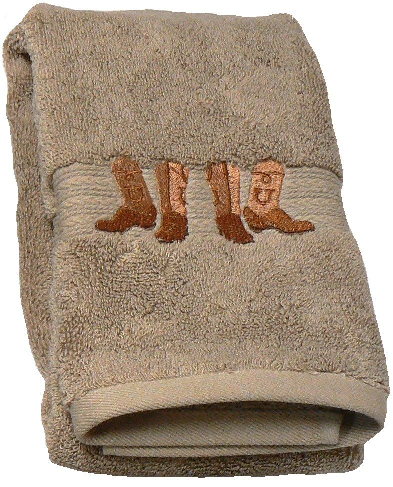 Cowboy Boots And Hat Embroidered Linen Bath Towel 3 Pc Set