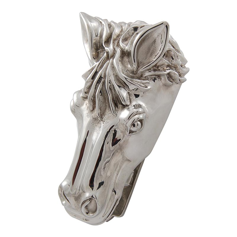 Horse head solid pewter door knocker polished silver - Horse door knocker ...