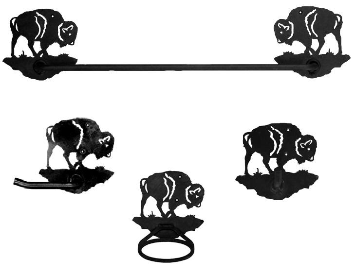Bison buffalo southwestern towel bar set 4 piece for Southwestern towel bars