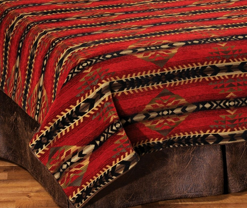 Gallop Southwest Chenille Bed Duvet Cover By Wooded River
