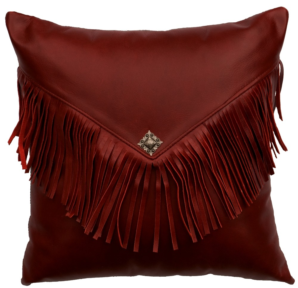 Red Leather Decorative Pillow : Dark Red Leather Throw Pillow 16 x 16