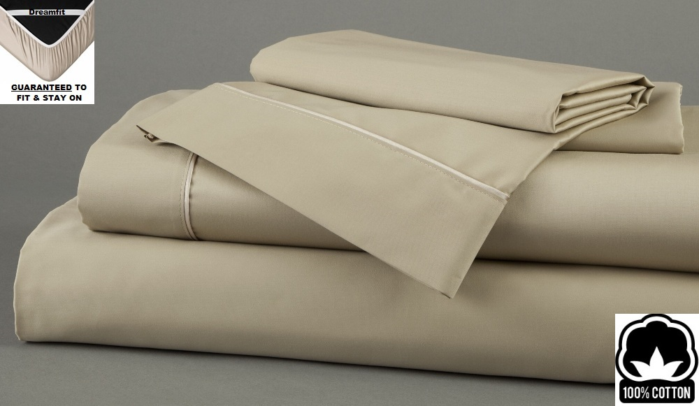 Taupe Dreamfit 3 Degree 100% Pima Cotton TWIN Bed Sheet Set