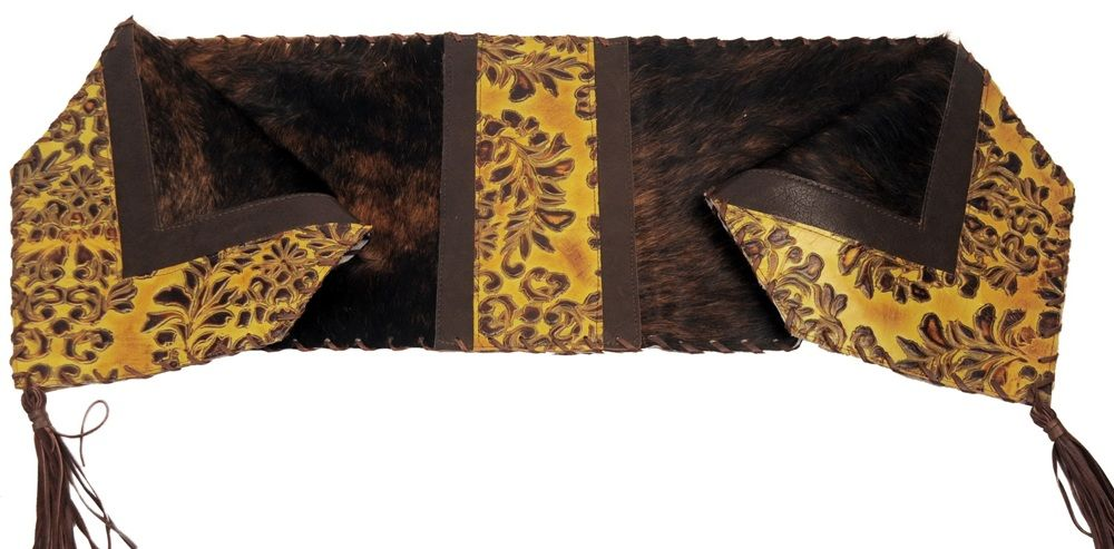 Oak leaf embossed leather brindle haironhide leather for Hide tr in table