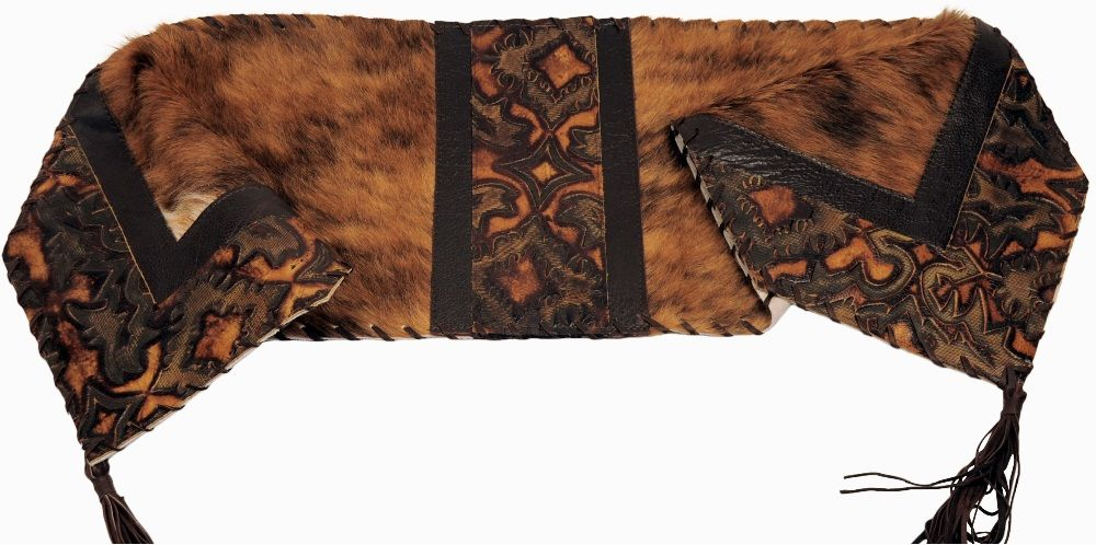 Laredo sepia embossed leather brindle haironhide leather for Hide tr in table
