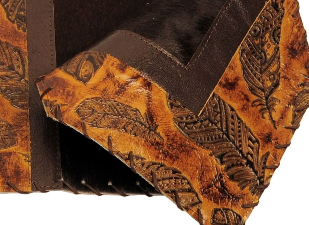 Feather embossed leather brown haironhide leather table for Hide tr in table