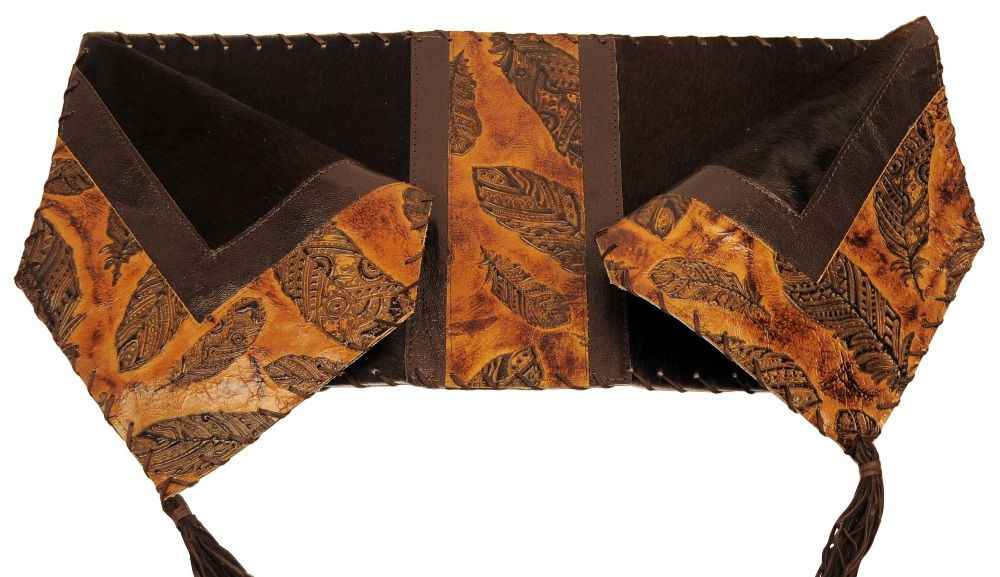 Feather Embossed Leather U0026 Brown Hair On Hide Leather Table Runner 12 X 54