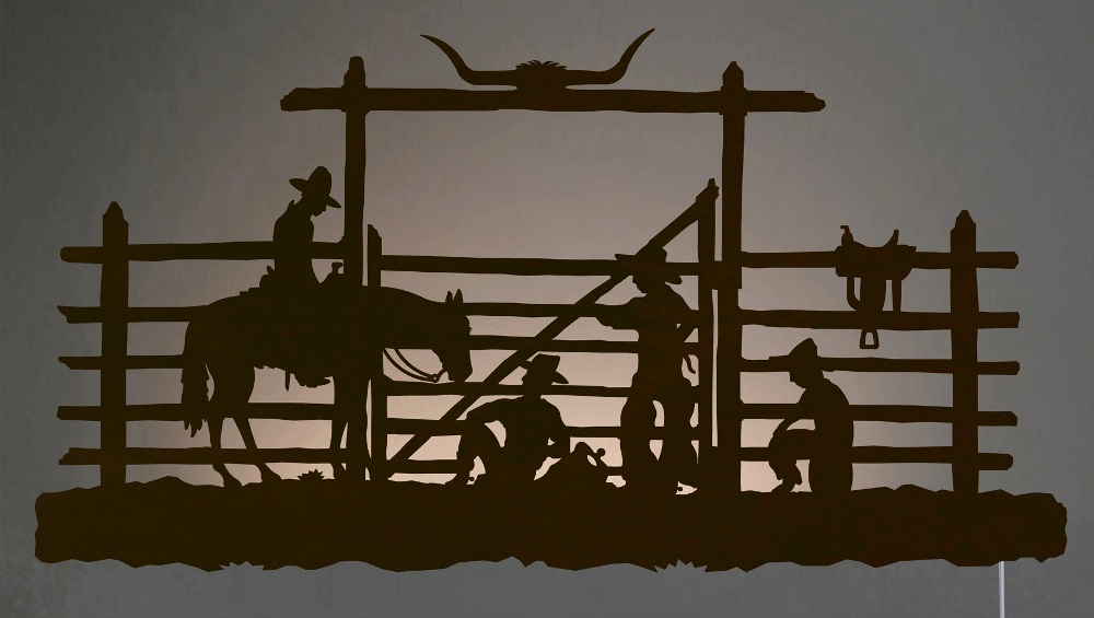 Cowboy corral western backlit wall art 42 inch for Cowboy wall mural