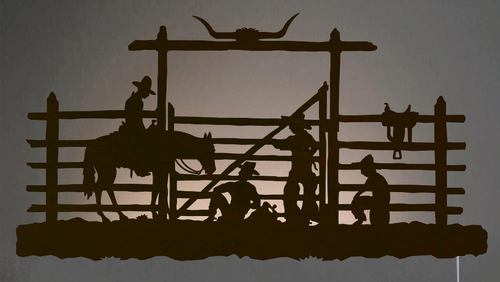 Western Wall Art Decals : Cowboy Corral Western Back Lit Wall Art 42 Inch