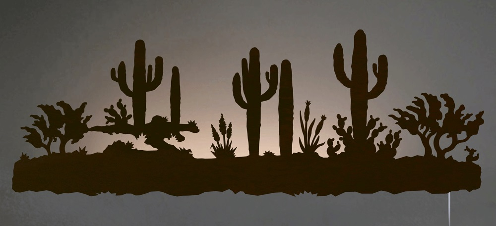 Desert Cactus Southwest Scene Backlit Wall Art 42 Inch