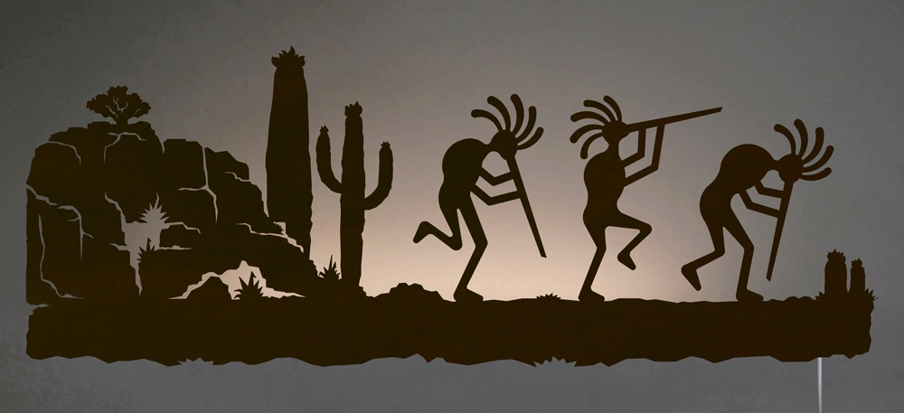 Kokopelli Desert Southwest Scene Back Lit Wall Art 42 Inch