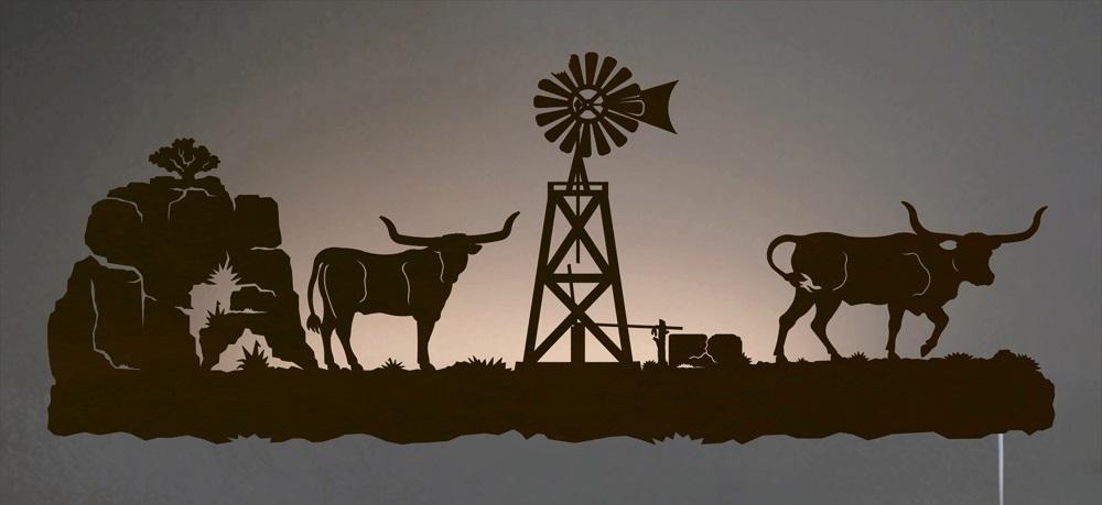 Longhorn cattle western scene backlit wall art 42 inch for Cowboy wall mural