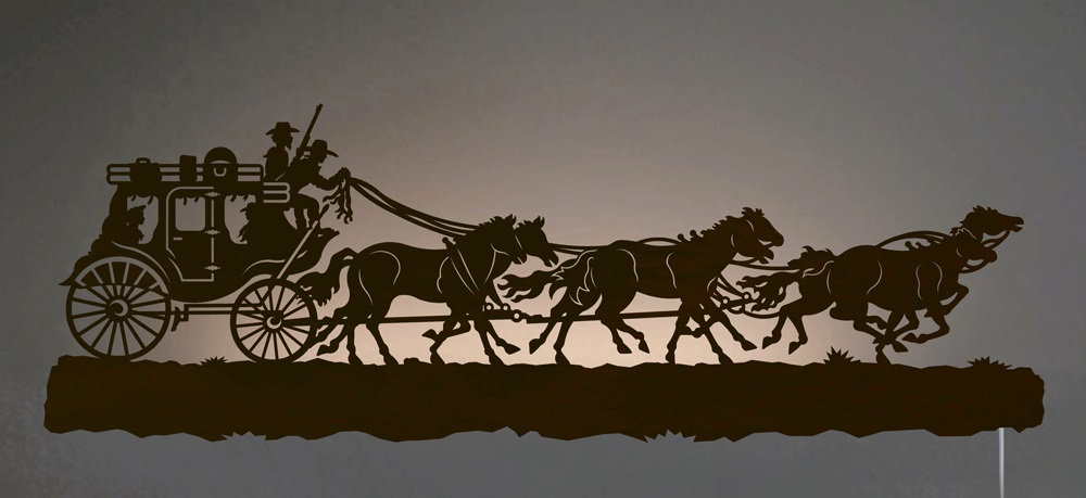 Stagecoach Run Western Back-Lit Wall Art 42 inch