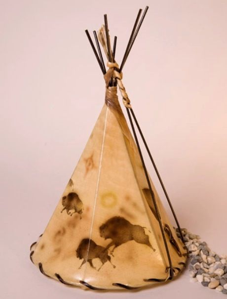 Buffalo Cave Art Painted Leather Tepee Lamp 16x1