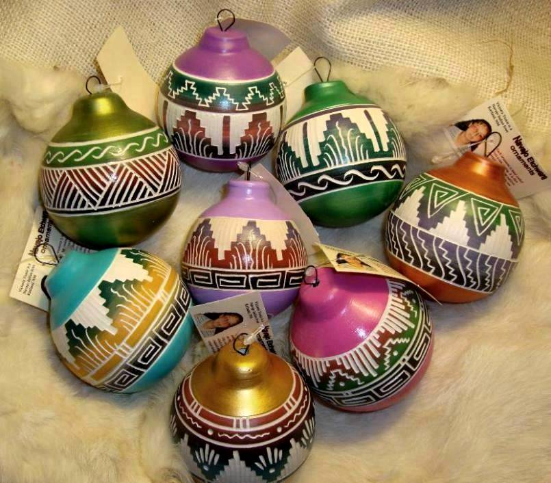 Native American Christmas Ornaments.Colorful Southwest Navajo Etchware Christmas Ornament