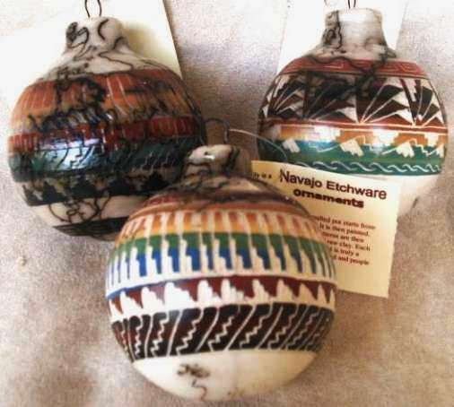 SOLD OUT Navajo Etched Horsehair Pottery Christmas Ornament - Navajo Etched Horsehair Pottery Christmas Ornament