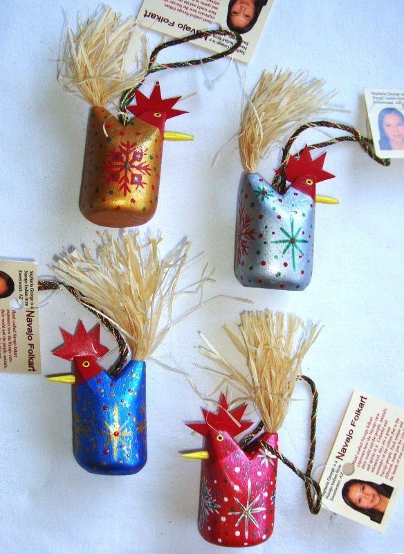 - Navajo Folk Art Chicken Christmas Ornament