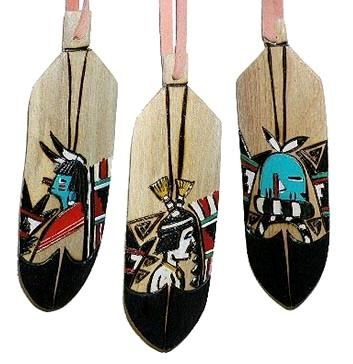 navajo wooden feather southwest christmas ornament - Southwest Christmas Decorations