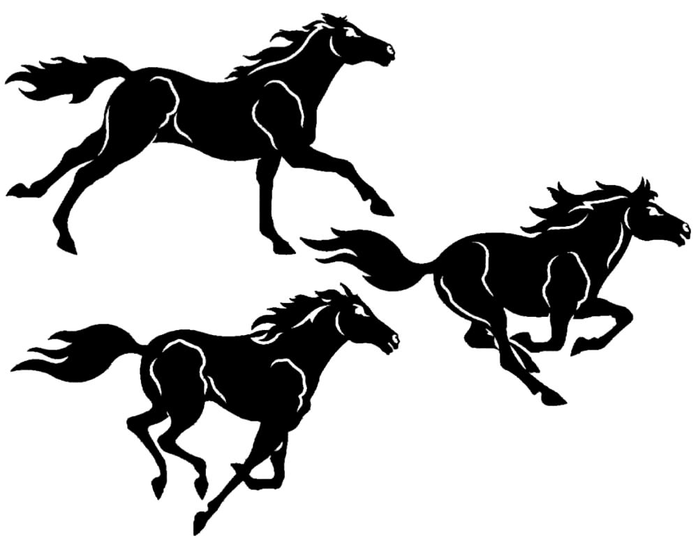 Three Horses 3 Piece Metal Wall Art Sculpture
