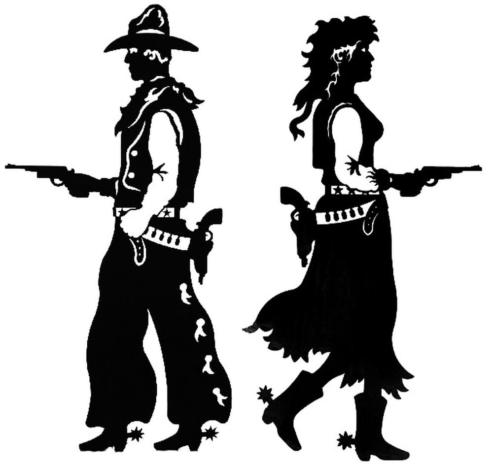 Pistols Drawn Western Wall Art Sculptures Cowboy and Cowgirl 15x30