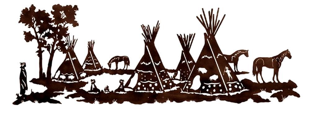 Native American Tepee Village Rustic Wall Art Sculpture 84