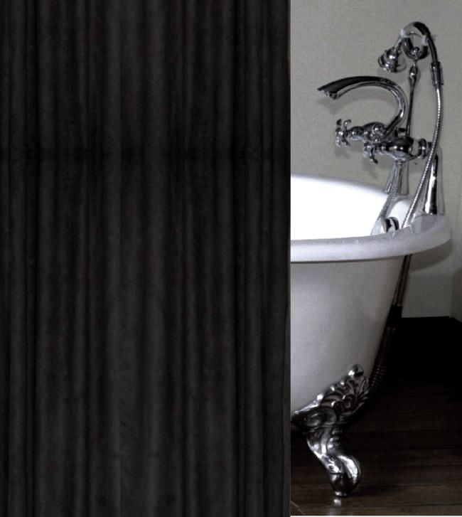 Black Faux Suede Luxury Shower Curtain Custom Made