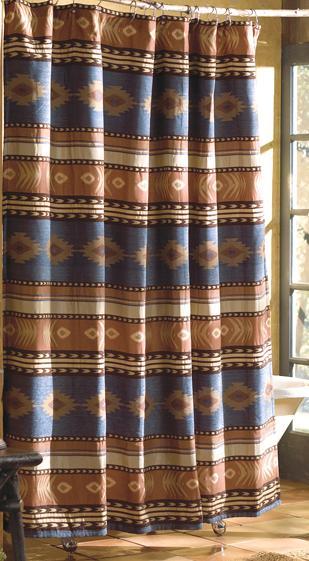 Southwestern Sierra Chenille Fabric Shower Curtain