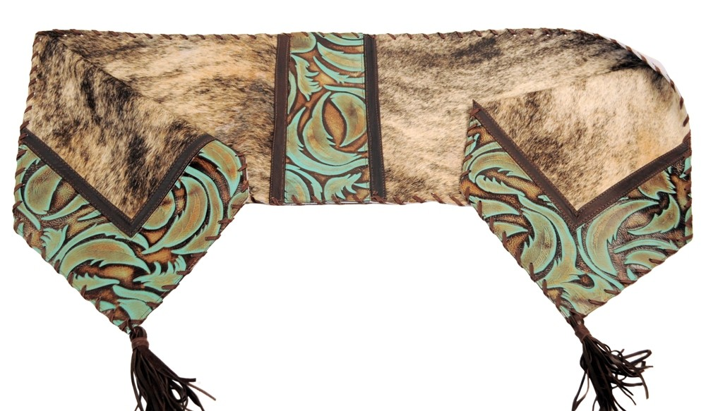 Brindle U0026 Turquoise Swirl Leather Table Runner 14 X 72