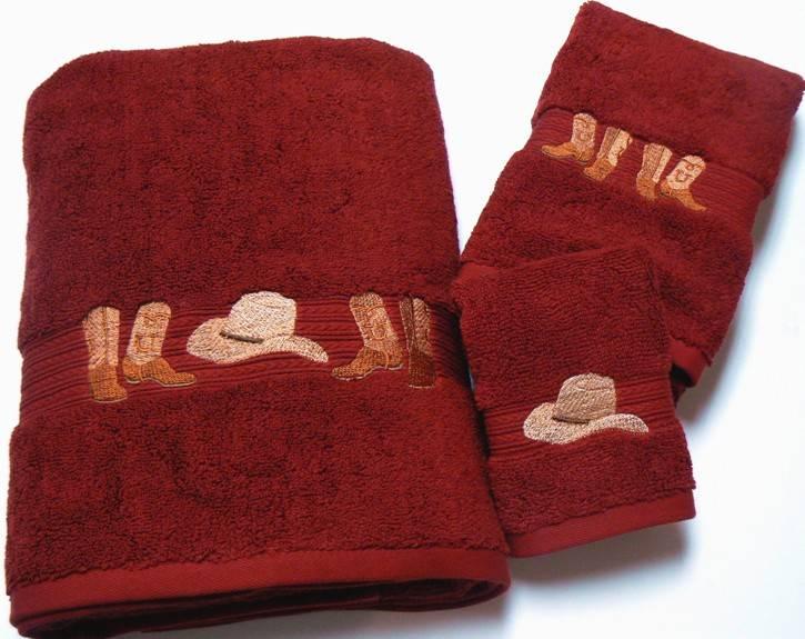 Cowboy Hats Amp Boots Embroidered Garnet Red Bath Towel 3 Pc Set
