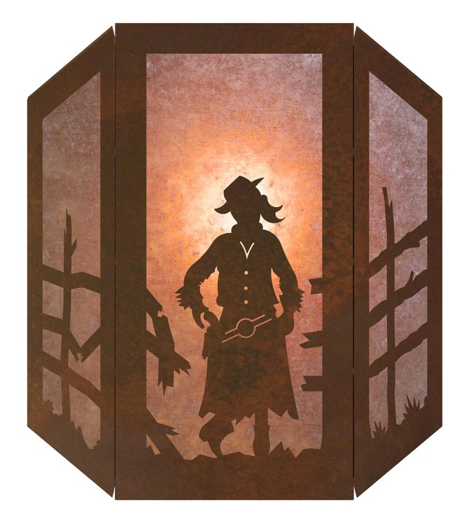 Cowgirl Silhouette 3 Panel Rustic Western Wall Sconce wMica Diffuser