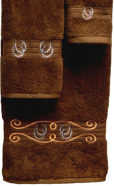 Horseshoes Rope 3 Pc Bath Towel Set Brown