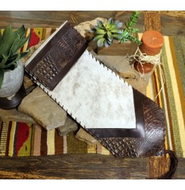 image for Alligator Embossed Leather & Cream Brindle HOH Leather Table Runner 12 x 72