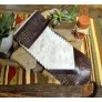 image for Alligator Embossed Leather & Cream Brindle HOH Leather Table Runner 14 x 72