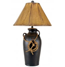image for Western Lasso Accent 3-Handle Black Pot Table Lamp & Shade 30""