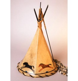 image for Appaloosa Horses Hand Painted Leather Tepee Lamp 16x10
