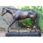 image for On the Rail Bronze Color Horse Sculpture