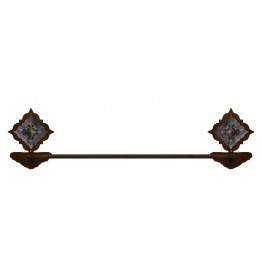 Diamond Silver Pico Concho Burnished Steel Hand Towel Bar