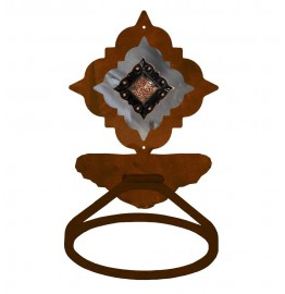 image for Diamond Copper Concho Burnished Steel Towel Ring