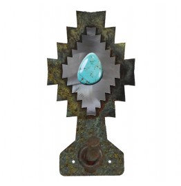 image for Desert Diamond Turquoise Stone Robe Hook Burnished