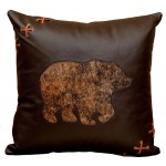 image for Bear Motif Leather Throw Pillow 18 x 18