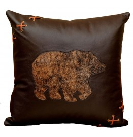 image for Gallop Leather HOH Bear Motif Throw Pillow 18 x 18
