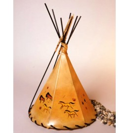 image for Horse & Buffalo Petroglyphs Hand Painted Leather Tepee Lamp 16x10