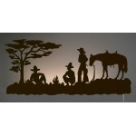 image for Cowboy Campfire Western Back-Lit Wall Art 42 inch
