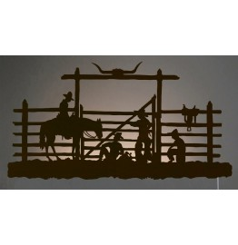 image for Cowboy Corral Western Back-Lit Wall Art 42 inch