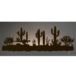 image for Desert Cactus Southwest Scene Back-Lit Wall Art 42 inch
